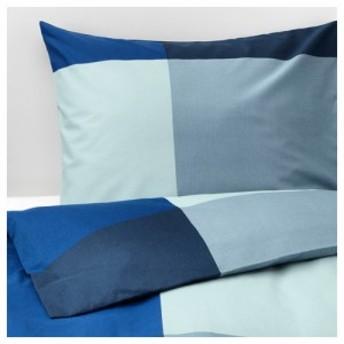 【IKEA イケア】BRUNKRISSLA ブルーンクリスラ #70375420 掛け布団カバー&枕カバー ブルー×グレー