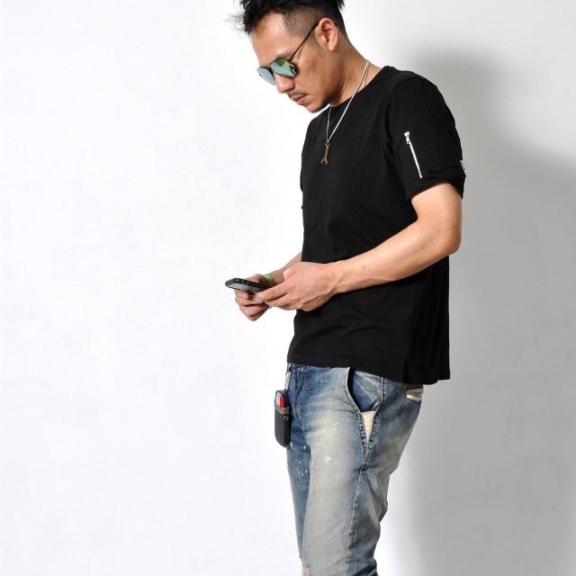 Tシャツ - RAiseNsE MA1 メンズ 半袖 Tシャツ ミリタリー フェイクファスナー 無地 クルーネック スリット シンプル 夏[2色]#TA155