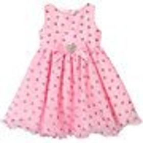ドレス パーティドレス キッズ 女の子【Lesy Candy Pink Glitter Heart Print Dress with Diamante Heart Belt】