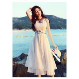 ワンピース ドレス ベルト付き 2連フリル 民族風デザイン