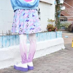 ひざ丈スカート - ACDCRAG エンジェルCATフレアスカート フレア スカート 猫 猫柄 ねこ ネコ パステル パステルカラー ゆめかわいい ファッションファンシー 原宿系 個性的 個性派 ミニ ミニスカート レディース ひざ丈 総柄