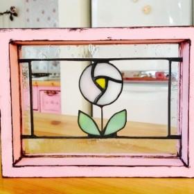 受注製作 ローズドロップ ステンドグラス パネル ガラス雑貨 薔薇 アンティーク調 バラ 新築 贈り物 母の日 記念品
