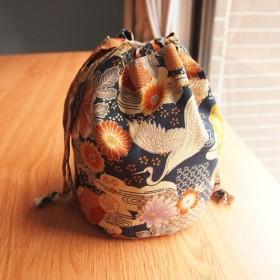 ワイルドクレーンクラウドトラベル和風タオルバッグ着物バッグ束口バッグ