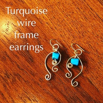 Turquoise wire frame earrings