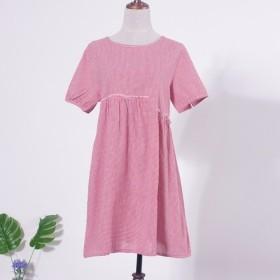 ワンピース コットン 半袖 スカート 綿麻 ピンク ゆったり 009