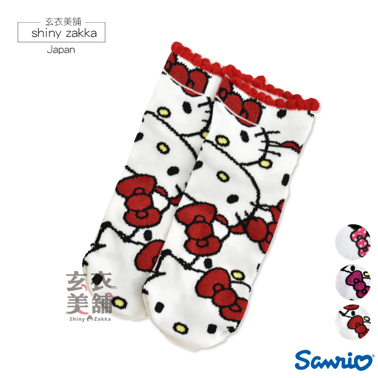 短襪-三麗鷗Kitty棉襪 日本進口-玄衣美舖