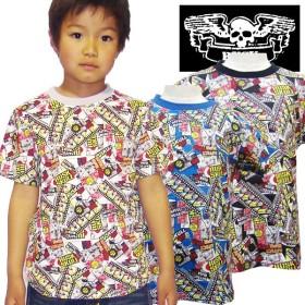 Tシャツ - ZI-ON KIDS STORE RUSK ドクロアメコミ総柄Tシャツ ラスク 男の子 ボーイズ アメカジ キッズ ジュニア 子供服 Tシャツ ラスク半袖プリント「3121-03」