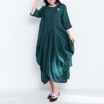 リネンゆったりロングワンピース・ドレス