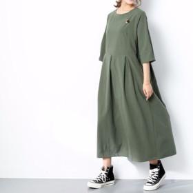 (再販×58)16色展開 一枚で着られる♪ コットンリネン ウェストタックワンピース ♪オーダーサイズ可