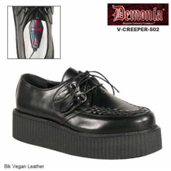 DEMONIA(デモニア) V-CREEPER-502 ラバーソールシューズ 厚底靴 黒 ブラック パンク ロカビリー バンド ライブ メンズ/ユニセックス