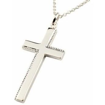 ネックレス クロス シルバー ペンダント 十字架 シンプル 地金 人気 ミル打ち sv925 レディース プレゼント 女性 送料無料