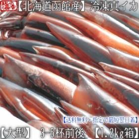 【送料無料 北海道産】北海道 函館 スルメイカ 3-5杯入【姿・冷凍 1.2kg箱】 獲れたてイカを【船上冷凍】なので鮮度抜群【するめいか】