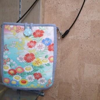 送料無料★草木染の結城紬と絽のポシェット