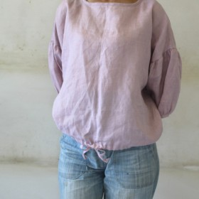 リネン裾ギャザーブラウス<pink>リトアニアリネン100%