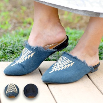 サンダル - チチカカ 靴 スニーカー 厚底 チチカカ 藍染フラットサンダル zhsjcc7077 レディース