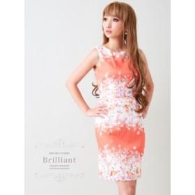 【新作SALE】S M L 華やかグラデーションフラワープリント高級ワンピース膝丈パーティーミニドレス結婚式お呼ばれミニワンピ/オレンジ
