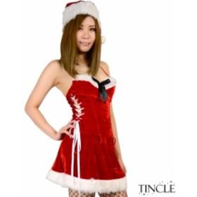 スリムレースアップサンタワンピースMサイズ クリスマス Xmas サンタ 01000541