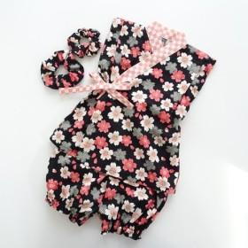 桜×市松模様《黒》 シュシュ付き甚平☆100センチ