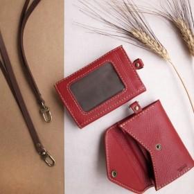 上品なザクロの赤、手作りのレザー収納バッグ(英語で刻印可能)