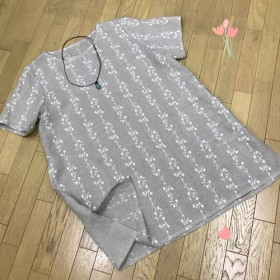 【SALE 30%OFF】リネン 刺繍レース 半袖 ゆったり チュニック