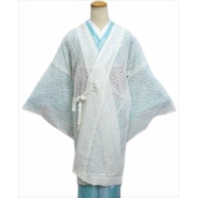 レース道中着コートオフホワイト(ロング丈) 和装着物の春夏秋必需品
