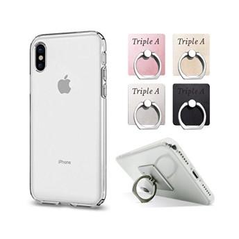 (Triple A)iPhone x ケースクリア スマホリング付き(ピンク) 耐衝撃 ソフトカバーTPU 落下防止付き エアクッション Qi 充電 対応 落下防止 衝撃吸収