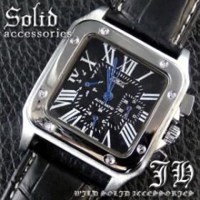 ★送料無料 腕時計 オートマティック 自動巻き 革ベルト ブラック 黒 【t135】