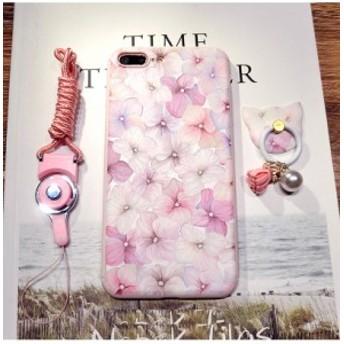 iPhone7/iPhone7Plus/iPhone6s/iPhone6 Plusケースかわいい花柄リングネックストラップ付スマホケースアイフォン6sプラス