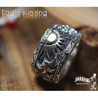 イーグル リング【送料無料】ネイティブアメリカン イーグル 鷹 平打ちリング ゴールドサン シルバー925 真鍮 リング 指輪◆HR指輪