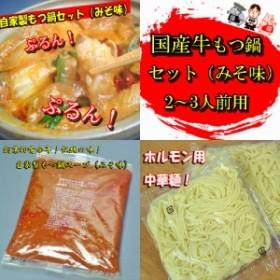 国産牛モツ鍋セット 野菜抜き みそ味 2~3人前用 B級グルメ モツ鍋