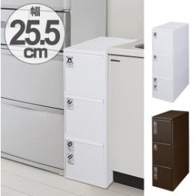 ゴミ箱 分別 ワイド 引き出しステーション 3段 60L ( キッチン 隙間 省スペース おしゃれ 大容量 )