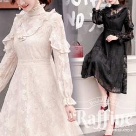 パーティードレス 韓国 ワンピース 二次会 結婚式 お呼ばれ ドレス  ロング スリーブ 透け感 レース