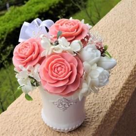 「再販」「Creema限定」石鹸彫刻 香る花のアレンジメント チェリーピンク