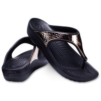 【クロックス公式】 クロックス スローン ハマード メタリック フリップ ウィメン Women's Crocs Sloane Hammered Metallic Flip ウィメンズ、レディース、女性用 ブラック/黒 21cm,23cm,24cm flip ビーチサンダル フリップサンダル ビーサン
