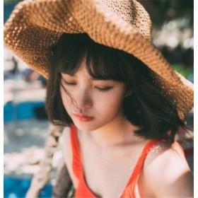 帽子 レディース 麦わら帽子 UV 折りたたみ帽子 つば広 ハット 紫外線対策 UVハット 夏 つば広帽子  小顔効果 日よけ帽子