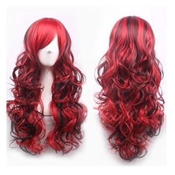 原宿ロリータ風 コスプレウイッグ ロングカール 巻き髪 ふんわり グラデーション 混色 かつら女装 仮装 コスチューム 赤黒