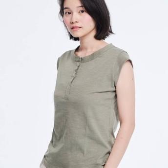 Henley コットン Cap Sleeve Tシャツ /Green