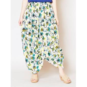 【チャイハネ】yul エスニックプリント変形アシンメトリースカート ホワイト×エメラルドグリーン
