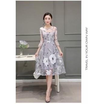 エレガント 大人しいドレス フレアワンピース Aライン ひざ下丈ワンピ メッシュ 花柄 7分袖 結婚式 パーティー ドレス