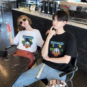 10月新更新セール中【7color】綿100%ドナルドTシャツ 韓国ファッション 可愛いDONALDプリント★ペアルックカップルtシャツ ディズニーTシャツ 半袖 レディース メンズ