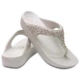 【クロックス公式】 クロックス スローン エンベリッシュド フリップ ウィメン Women's Crocs Sloane Embellished Flip ウィメンズ、レディース、女性用 ホワイト/白 24cm flip ビーチサンダル フリップサンダル ビーサン 30%OFF