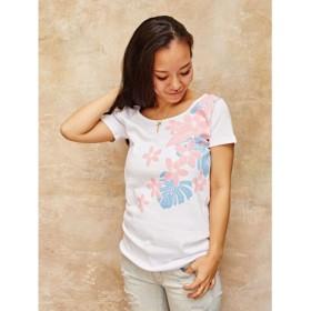 【Kahiko】プルメリアフライスTシャツ Lサイズ ホワイト