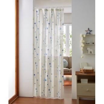 パタパタたためて幅丈調節出来る2Way間仕切り水玉柄カーテン のれん・カフェカーテン