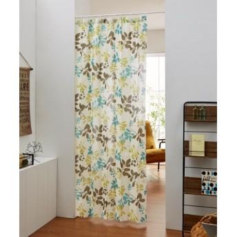 パタパタたためて幅丈調節出来る2Way間仕切りリーフ柄カーテン のれん・カフェカーテン