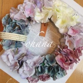 咲き続けるグラデーション紫陽花のアーティフィシャルフラワーリース