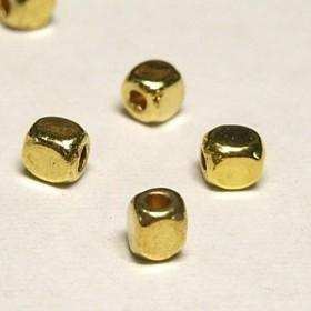 スペーサー シンプルキューブ 約3mm ゴールド【約100個入り】6000890