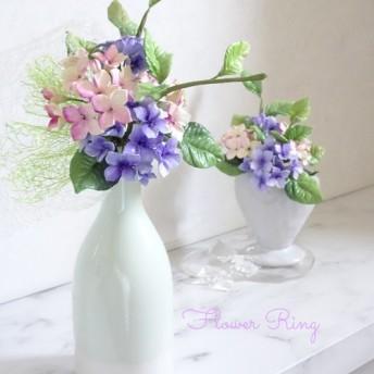 【母の日/アジサイ/贈り物/パン粘土】上品爽やか 紫陽花のパンフラワーアレンジメント