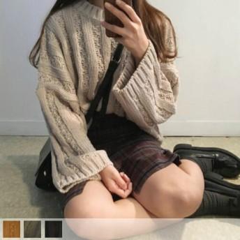 ニット・セーター - Lady Girls デザインニット オーバーサイズ ゆったり 大きめ ケーブル編み ニット 無地 セーター プルオーバー トップスレディースファッション通販 秋冬 新作