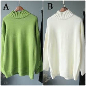 レディース ニット カットソー セーター ハイネック ゆったり 長袖 ホワイト グリーン フリーサイズ ワンサイズ 送料無料