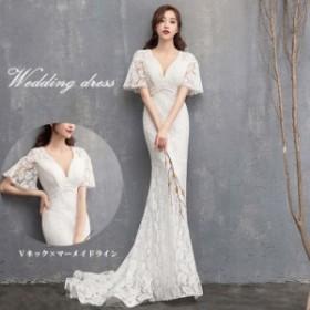 2019新作 ウェディングドレス マーメイド 綺麗なシルエット 挙式ドレス Vネックドレス マーメイドロングドレス 結婚式の二次会用 ドレス